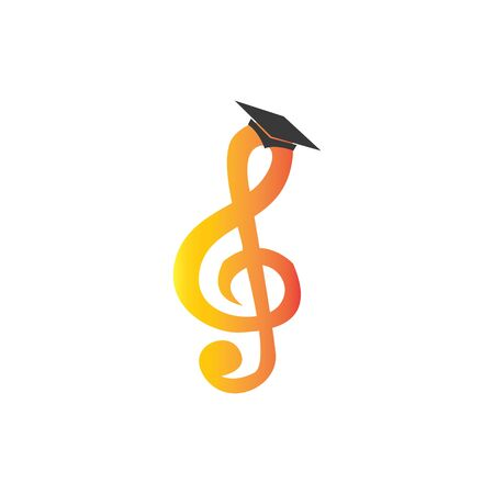 music ladder with graduation hats, a place for vector logo music courses Stock Illustratie