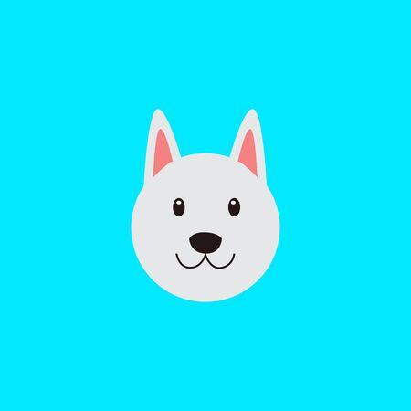 Cute dog face, Adorable little dog portrait, simple vector illustration. Modern icon or logo