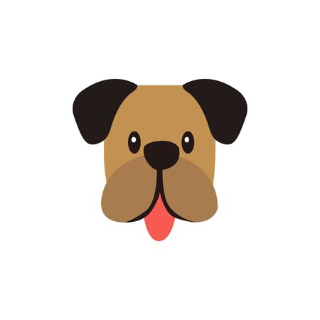 Cute dog face, Adorable little dog portrait, simple vector illustration. Modern icon or logo
