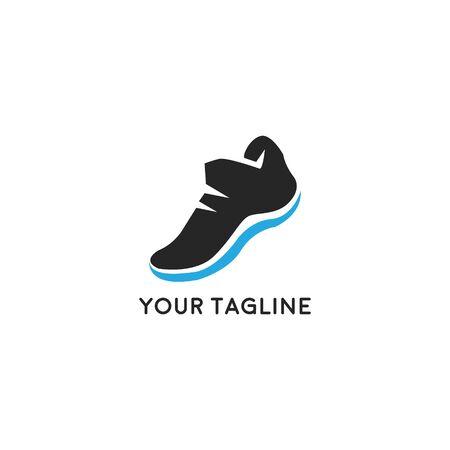 Corri maratona. Logo colorato Sport o Running Club con sneakers