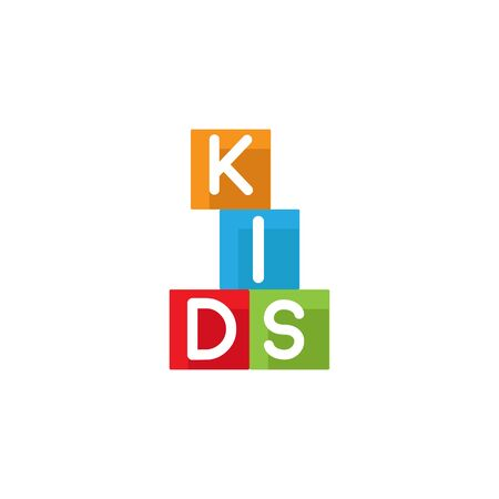 Kids zone vector cartoon logo. Colorful letters for childrens playroom decoration. Inscription on isolated background