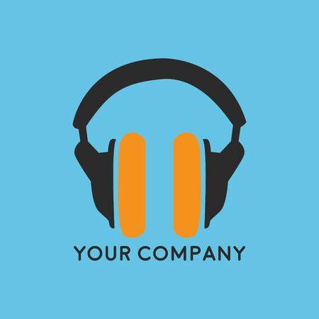 Musik-Headset-Logo-Design-Vorlage, Element Design. Musikladen. Vektor-Illustration isoliert auf weißem Hintergrund