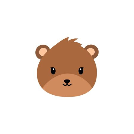 Cute bear round vector graphic icon.grizzly bear animal head, face illustration. Isolated on white background