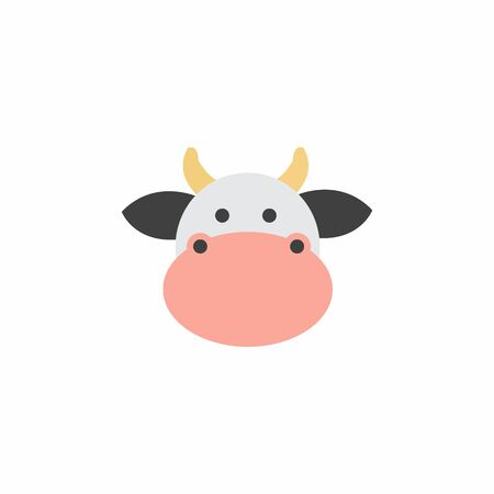 Avatar of a cow on a white background, cartoon cow logo vector mascot character avatar download Фото со стока - 129084485