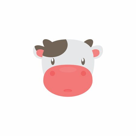 Avatar of a cow on a white background, cartoon cow logo vector mascot character avatar download Фото со стока - 129084499