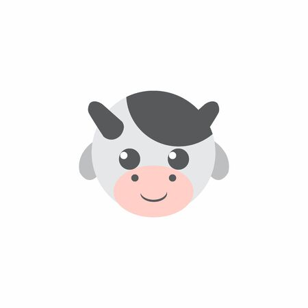 Avatar of a cow on a white background, cartoon cow logo vector mascot character avatar download Фото со стока - 129084495
