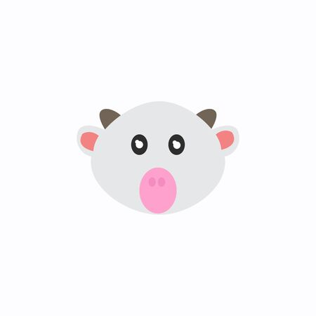 Avatar of a cow on a white background, cartoon cow logo vector mascot character avatar download Illustration