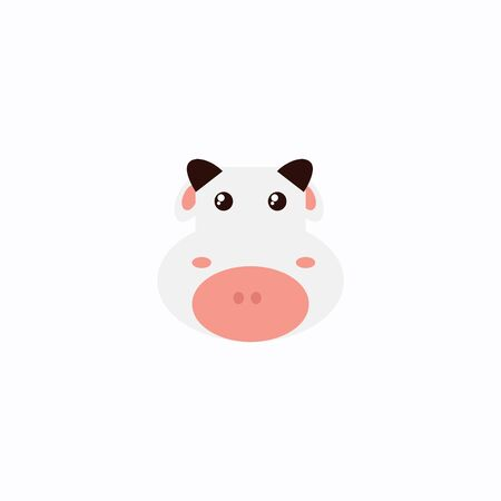Avatar of a cow on a white background, cartoon cow logo vector mascot character avatar download Фото со стока - 129084515