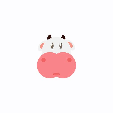 Avatar of a cow on a white background, cartoon cow logo vector mascot character avatar download Фото со стока - 129084521