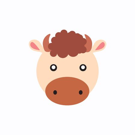 Avatar of a cow on a white background, cartoon cow logo vector mascot character avatar download Иллюстрация