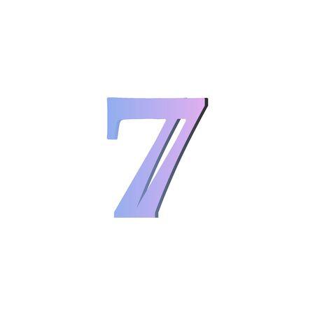 7 Number logo design vector element