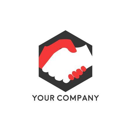 Logo aziendale della stretta di mano - due mani fanno un accordo su priorità bassa bianca. Icona di vettore di cooperazione, partenariato e accordo