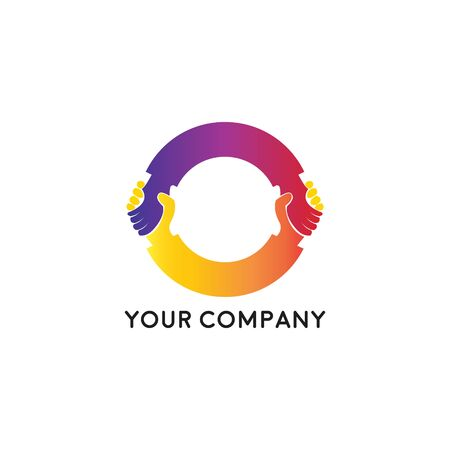 Handshake business logo - two hands make a deal on white background. Cooperation, partnership and agreement vector icon