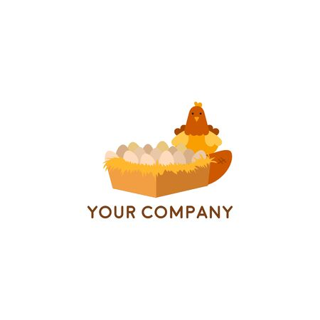 Farm House concept logo with egg and chicken