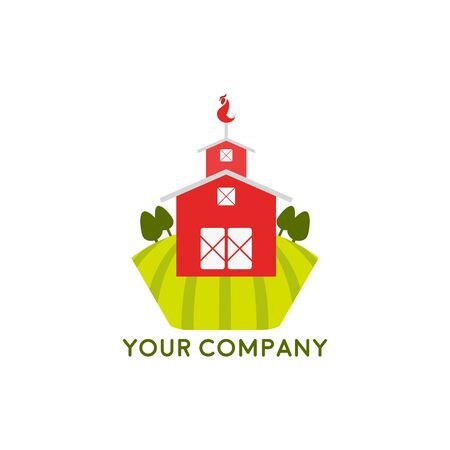 Farm House concept logo, windmill in the garden