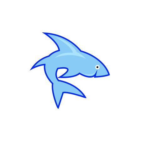 Shark logo template. A cute shark front face, diving School , scuba club, Snorkeling equipment shop Foto de archivo - 140093127