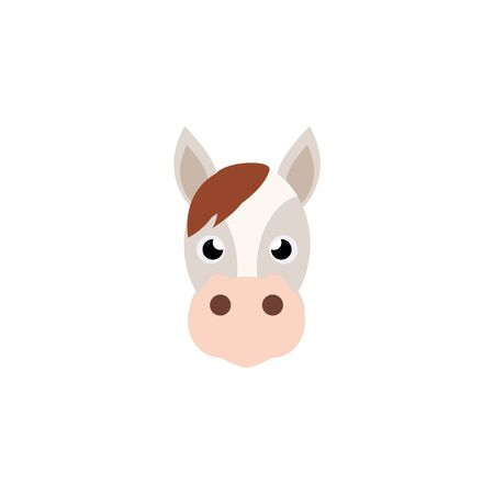 Horse-Cartoon horse head isolated from white background