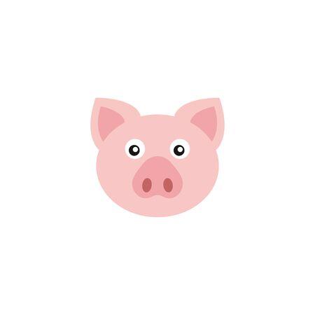 Piggy head logo, cartoon pig - vector illustration