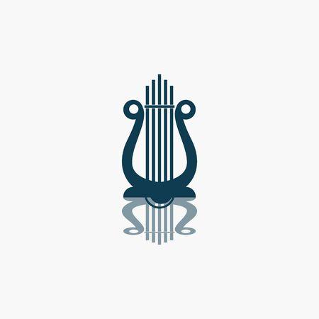 Harp Music Instrument Logo Design Inspiration Vector