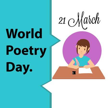 World Poetry Day logo icon design, vector illustration