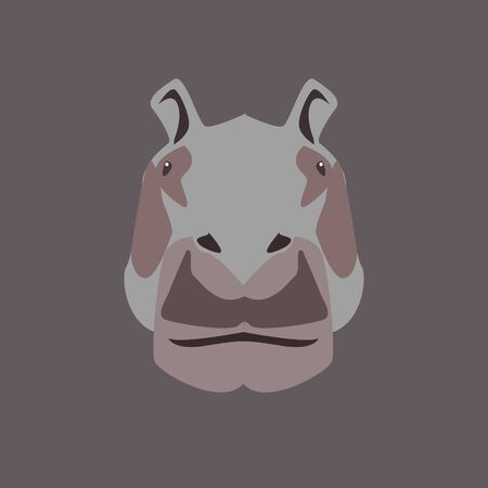 Cartoon animal, cute hippo. Flat design.Vector Illustration