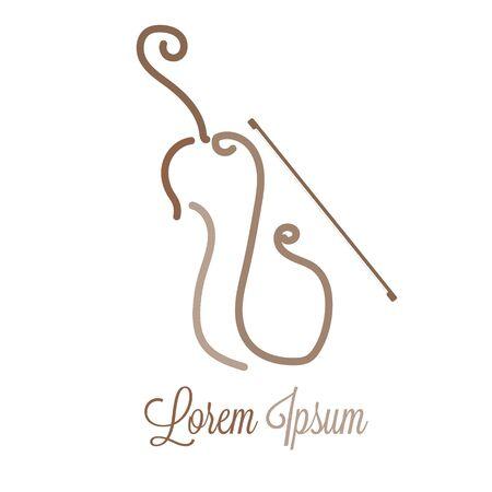 violin logo concept, music badge, Vector illustration