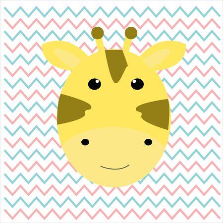 Vector illustration of the sticker with comic head of a giraffe Vektorové ilustrace