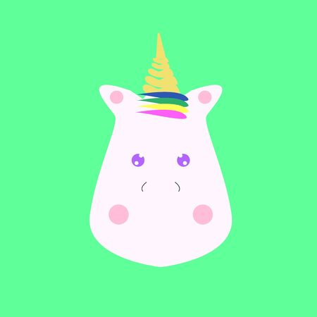 Cute unicorn face. Colorful vector illustration isolated on white background