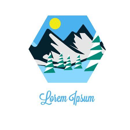 mountain and sunset logo vector illustration. winter and sun logo