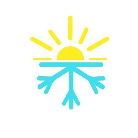 abstract winter and sun logo design template. symbol icon Stock Illustratie