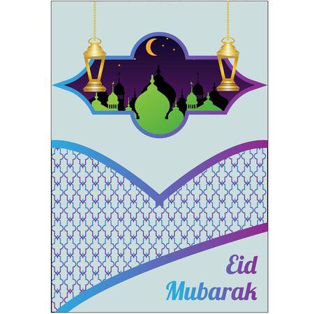 Eid Mubarak greeting Card Illustration, ramadan kareem cartoon vector Wishing for Islamic festival for banner, poster, background, flyer,illustration, brochure and sale background