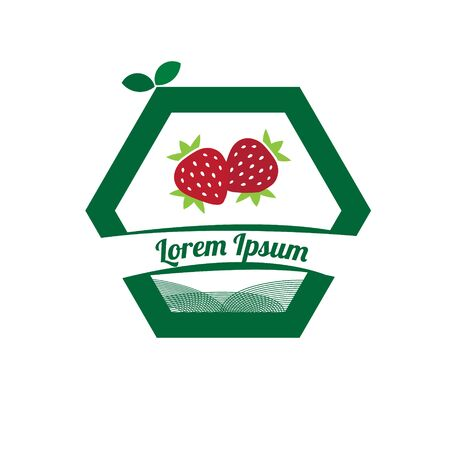 Strawberry logo icon. Modern vector illustration of Strawberry. Fruit a sweet dessert concept. The emblem of berry fruit