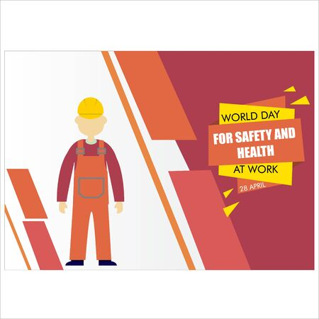Vector concept of the World Day for Safety and Health at Work with humans wearing helmets