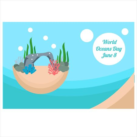 World oceans day. Sea animals. Poster. Vector illustration for world oceans day