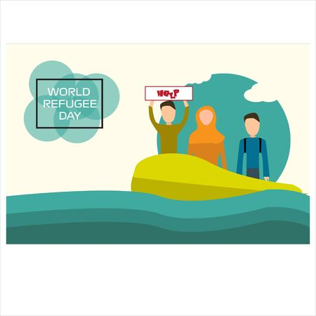 World Refugee Day Vector Illustration. Suitable for background, Greeting Card, Poster and Banner Ilustrace