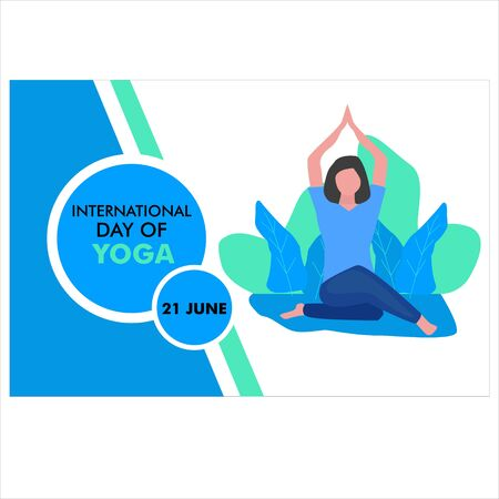 Vector illustration of international yoga day. yoga logo design template. bakcground.poster.card