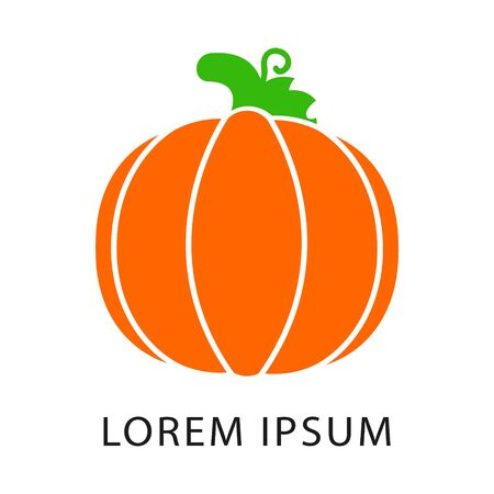 Pumpkins color logo vector. Orange pumpkin vector illustration. Autumn halloween or thanksgiving pumpkin, vegetable graphic icon