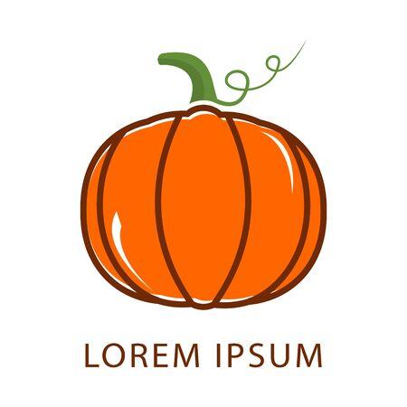 Pumpkins color logo vector. Orange pumpkin vector illustration. Autumn halloween or thanksgiving pumpkin, vegetable graphic icon Фото со стока - 147434685