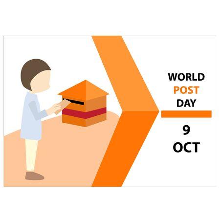World Post Day logo. world post day background illustration. World Post Day, October 9