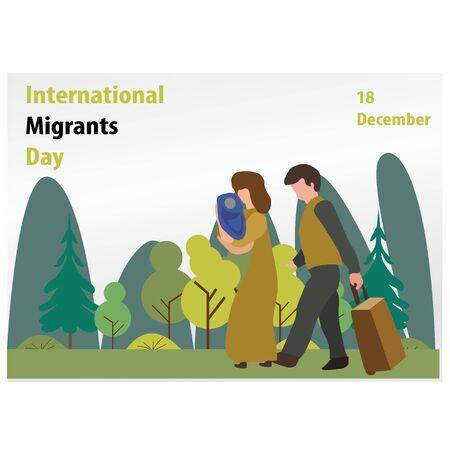 vector illustration for international migrants day background. banner, poster