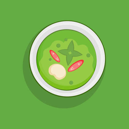 Green curry vector logo presented in a plate