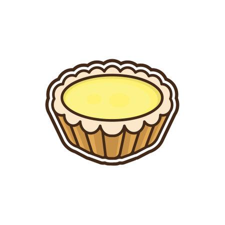 illustration vector of Chinese dessert egg tart icon. Vektoros illusztráció