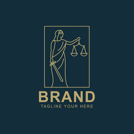 Legal center or advocacy juridical icon for advocate and attorney office. Scales of Justice and heraldic laurel wreath. Vector badge for law counsel or lawyer and notary company
