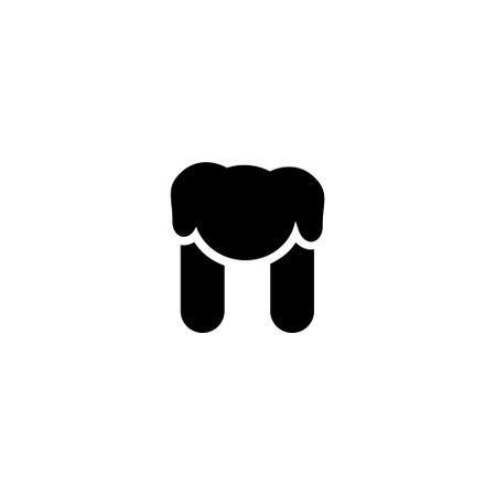 logo letter n with icon prety dog line vector design Illustration