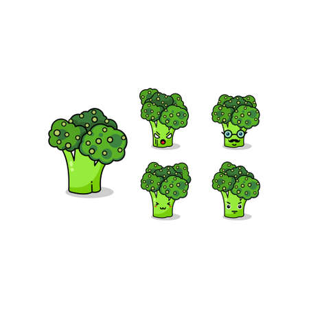 Cute happy smiling broccoli vegetable set collection. Vector flat cartoon character illustration icon design.Isolated on white background. Green broccoli vegetable bundle concept