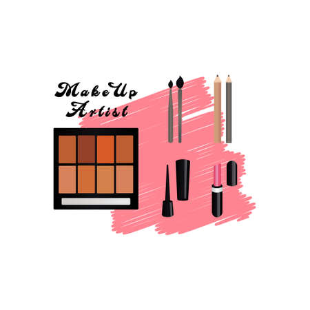 Vector sketch square banner with a round frame of cosmetic products. Design for cosmetics, fashion, beauty, makeup. Lipstick, perfume, brush, pencil, cream.