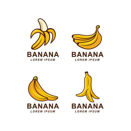 a set banana logo badge Illustration