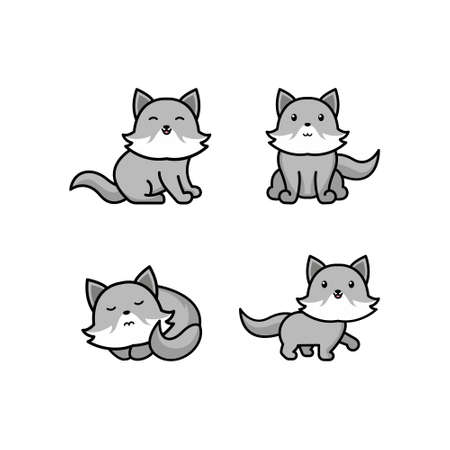 Cute cartoon grey wolfs vector set. Wolfs in different postures. Sitting wolf, howling wolf, standing wolf. Forest animals for kids. Isolated on white background