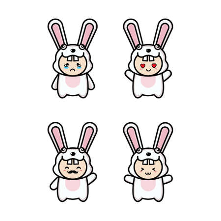 Vector illustration character design collection outline of cute rabbit.Draw doodle cartoon style. Illustration