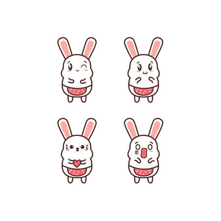 Cute Vector Rabbit Action set with carrot and some objects isolated on White Background